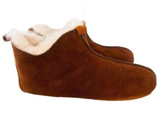 Brown Shearling Sheepskin Slippers. Unisex. Real Natural Sheepskin.