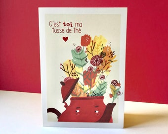 Double postcard, you're my cup of tea, recycled paper, love, Valentine's Day, envelope included