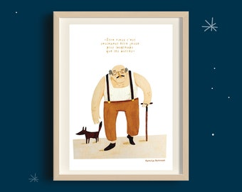 """Poster """"Being old is..."""", decoration, wall decoration, illustration, quote, gift idea, birthday, watercolor"""