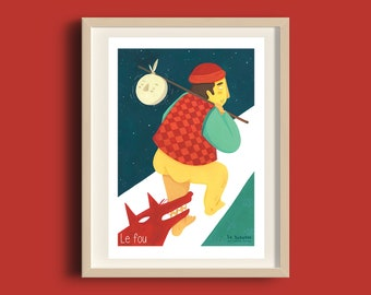 """Poster A5 """"Le Fou"""" Tarot de Marseille, illustration gouache, printing, recycled paper, decoration, poster, gift"""