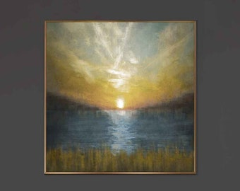 Sunset, Textured Paint on Canvas, Stretched on a wood panel, Nature Painting comes with Aluminum Floating Frame