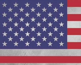 USA Flag Metal, Printed on Brushed Aluminum, Timeless & Elegant
