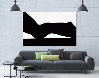 Abstract Nude Woman,  Black and White, Plexiglass, Sensual Art, Sexy, Extra Large Wall Art, Large Print, Oversized art