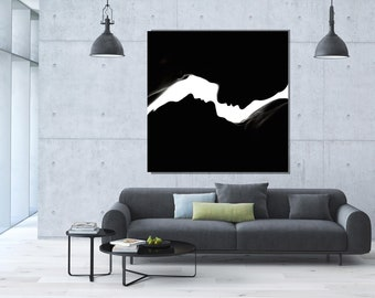 Square Nude Art,  Abstract, Black and White, Metal Print, Sensual Art, Sexy, Extra Large Wall Art, Large Print, Oversized art