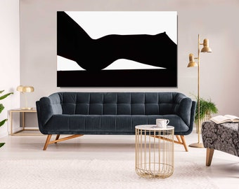 Abstract Nude Woman,  Black and White, Metal Print, Aluminum Print, Sensual Art, Sexy, Extra Large Wall Art, Large Print, Oversized art