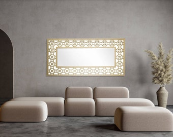Rectangle Gold Mirror, Brass, Elegant Design, Hand Made with wood
