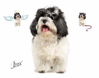 CUSTOM PET PORTRAIT/Angel and Devil Pet/Portrait Dog Cat Portrait/Dog Portrait/Print on Canvas