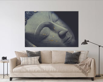 Buddha Large Art, Grey Gold Print, Gold Leafing Buddha, Living Room Decor, Oversized Art, Plexiglass