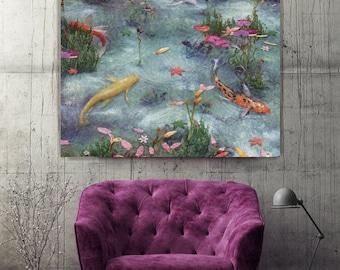Monet Pond, Metal Aluminum Print, Extra Large Wall Art, Modern Wall Art, Large Print, Limited Edition