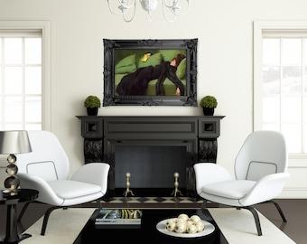 Black Vintage Frame, Wood, Decadent Style, Hand Made