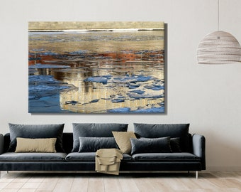Abstract Gold Art, Nature, Ice on Gold River during Sunset or Sunrise, Print on Canvas, Large Canvas, Oversized Art