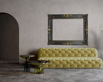 Black and Gold Vintage Frame, Canvas Frame, Black Frame, Vintage, Handmade