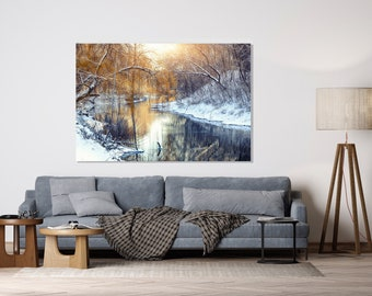 Gold Winter Trees during Sunset or Sunrise, Nature Landscape Snow, Print on Plexiglass, Large Plexiglass, Oversized Art
