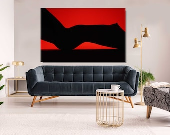 Abstract Nude Woman,  Black and Red, Metal Print, Aluminum Print, Sensual Art, Sexy, Extra Large Wall Art, Large Print, Oversized art
