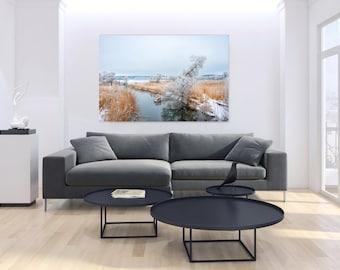 Winter River, Nature Landscape Snow, Print on Plexiglass, Large Plexiglass, Oversized Art