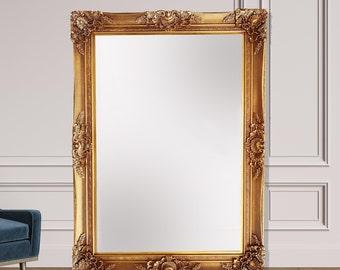Oversized Antique Mirror in Gold, Full Length Mirror, Stand Alone Mirror, Italian Rococo, French Style Mirror, Decorative Mirror, Sculpted