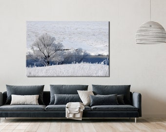 Snow Tree Canvas, White and Blue, Print on Canvas, Large Canvas, Oversized Art