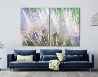 Dandelion Canvas Print, White Blue Green Gold, Print on Canvas, Oversized Canvas, Large Art