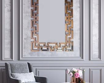 Bronze Tinted Mirror, Intrinsic Patterned Mirror, Decorative Mirror,  Large Oversized Mirror, Wall Decor