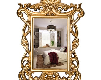 Antique Mirror in Gold or Silver, Handmade, French era inspired 19th century design