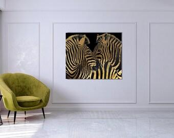 Black Gold Zebra Print, Abstract Black and Gold Print, Gold Metal Print, Gold Animal Print, Oversized Large Art Decor,  Plexiglass