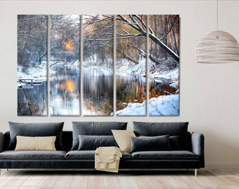 Autumn Trees Canvas Print, Large Canvas, Oversized art