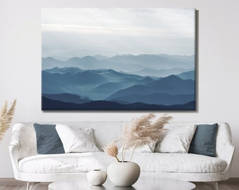 Abstract Blue Mountains, Abstract Nature, Blue and White, Print on Canvas, Large Canvas, Oversized Art