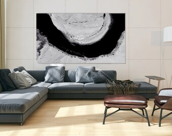 Modern Abstract Print with Painted Textures, Large Art for Trendy Decor, Perfect Gift for Him, office Art, Abstract Art on Canvas