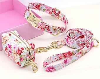 Dog Collar with Leash Set, Personalized Dog Collar Leash Treat Bag Snack Bag, Custom Engraved Buckle Dog Collar