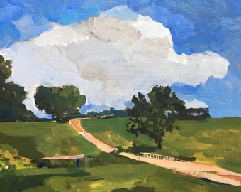Landscape and clouds painting - The Farm, Peekaboo Cloud