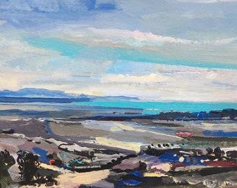 Seascape and landscape painting - Santa Cruz, California, Monterey Bay Pogonip View