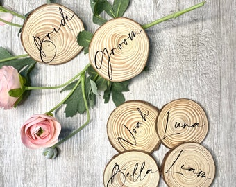 Engraved Pine wood Slice  name places Thanksgiving table name cards Weddings  anneversaries