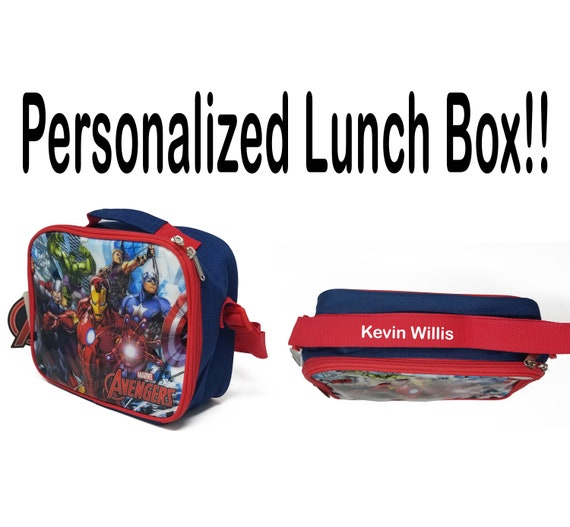 Personalised Kids Lunch Bag Any Name Avengers Childrens Boys School Snack Box