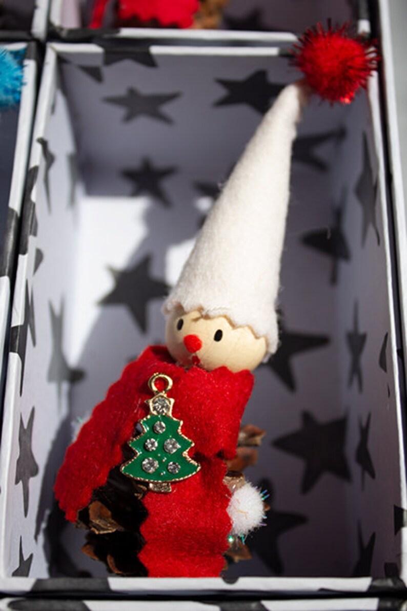 sustainable Xmas felt Christmas gnome,9 Christmas elves ornament,pine cone Christmas tree ornaments,Xmas lover gift,eco christmas ornaments