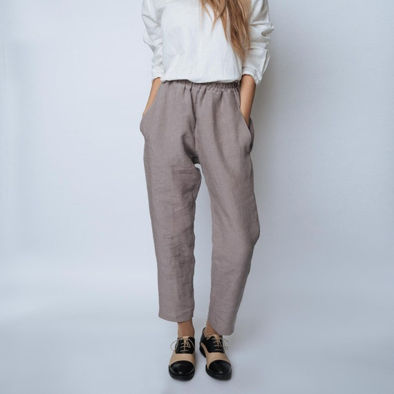 Tapered linen pants SOHO trousers linen pants with drawstring waistClassic linen pantsWashed linen pantsTapered pantsSlack linen pants