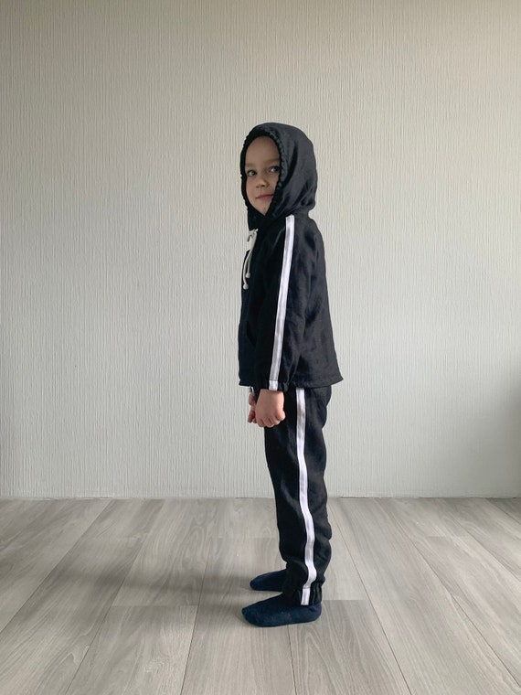 children linen pants hoodie shirt for girls and boys kids summer linen clothing handmade Black linen tracksuit for kids toddler suit