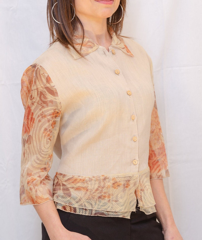Vintage shirt with transparent inserts by Gabrielle made in Italy Size XS-M.