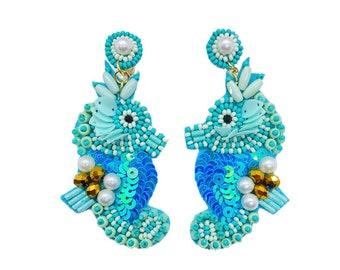 Seahorse Earrings teal and white Czech glass Starfish Earrings nautical earrings