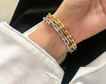 U Shape Link Chain Bracelet Gold Chain Bracelet