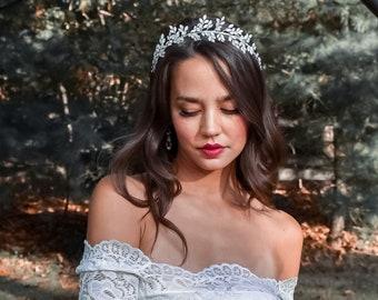 Opal Stone Headband, Opal Clear Rhinestone Bridal Hair Band, Silver Wedding Hair Accessory, Bridal Hairpiece - 7429