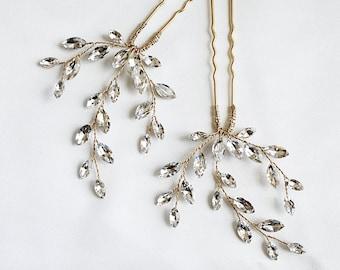 NEW Gold/Silver Crystal Rhinestone Hair Pin, Silver Bridal Hairpin, Vintage-Inspired Bridal Hair Pins, Wedding Hair Accessories PIN1156