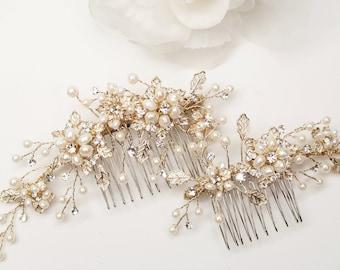 Set of 2 Gold Freshwater Pearl Bridal Hair Combs, Floral Rhinestone Hair Accessory, Wedding Headpiece  - UC9357
