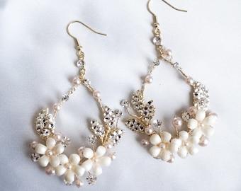 NEW Floral Gold Hoop Crystal Bridal Earrings, Dangle Bridesmaid Earring Gift, Pearl Twig Prom Earring , Photoshoot Statement Earrings