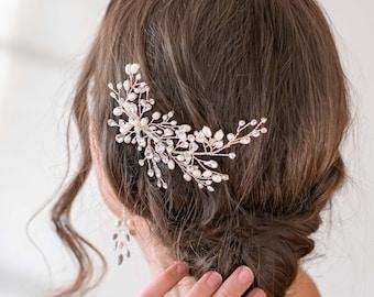 Freshwater Pearl Wedding Hair Clip, Silver Rhinestone Hair Piece, Crystal Bridal Headpiece,  Wedding Hair Accessory - 6144