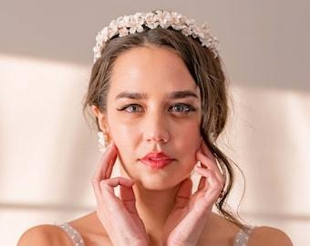 Gold Clay Flower Tiara, Floral Bridal Crown, Blossom Wedding Headband, Wedding Hair Accessory, Flower Wreath [Style 7430]