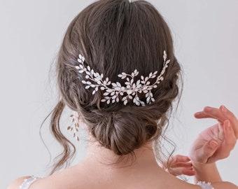 NEW Vintage-inspired Opal Stone Wedding Hair Comb, Silver Moonstone Bridal Hair Comb, Silver Wedding Hair Accessory -  6476