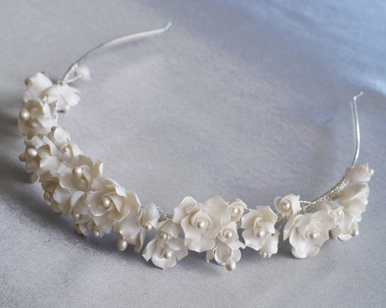 Clay Flower Tiara Floral Bridal Crown Floral Pearl Headband image 0
