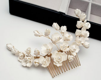 White Gold Peony Clay Flower Bridal Hair Comb, Bridal Hair Accessory, Floral Wedding Headpiece - 6366