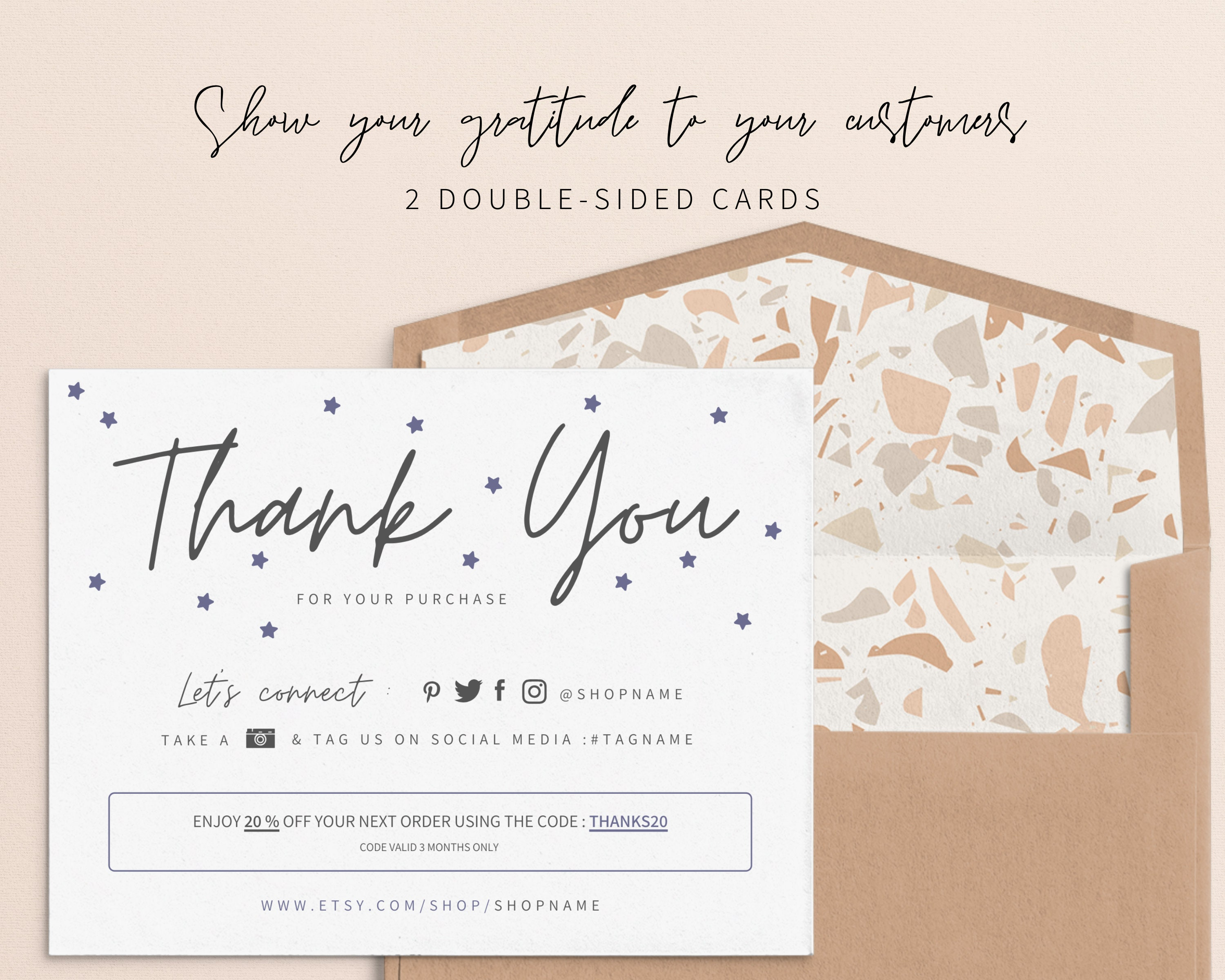 diy 2 printable pink thank you cards multipack instant  etsy