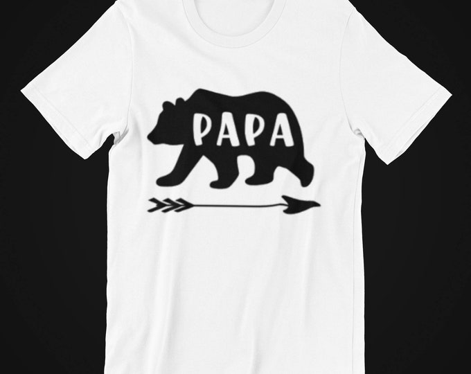 gift for her him vinyl fathers day papa t-shirt Papa bear t-shirt hand made unisex sizing matching family shirts bear